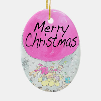 Merry Christmas, oval decoration. Ceramic Ornament