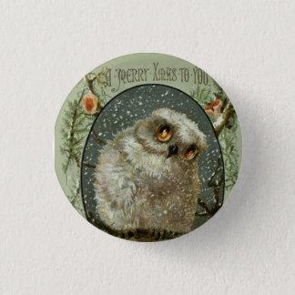 Merry Christmas Owl Pinback Button