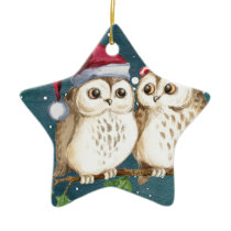 Merry-christmas Owls Ceramic Ornament