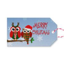 Merry Christmas Owls Gift Tags
