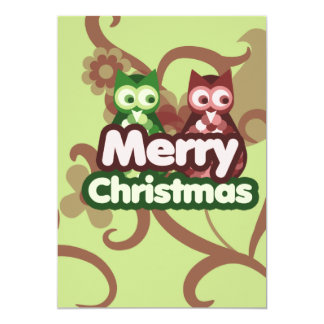 Merry Christmas Owls 5x7 Paper Invitation Card