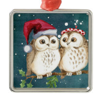 Merry-christmas Owls Metal Ornament
