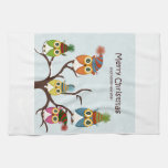 Merry Christmas Owls on the Tree Kitchen Towel