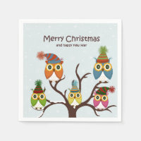Merry Christmas Owls on the Tree Paper Napkin