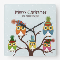 Merry Christmas Owls on the Tree Square Wall Clock