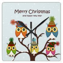 Merry Christmas Owls on the Tree Square Wall Clocks