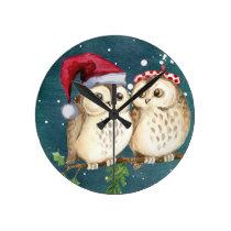 Merry-christmas Owls Round Clock
