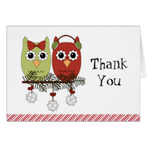 Merry Christmas Owls Thank You Notes