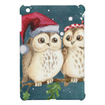 Merry Christmas Owls Watercolor Card Winter Snow Case For The iPad Mini