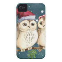Merry Christmas Owls Watercolor Card Winter Snow iPhone 4 Cover