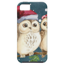 Merry Christmas Owls Watercolor Card Winter Snow iPhone SE/5/5s Case