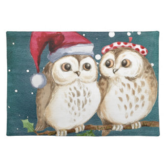 Merry Christmas Owls Watercolor Card Winter Snow Placemat