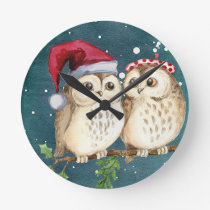 Merry Christmas Owls Watercolor Card Winter Snow Round Clock