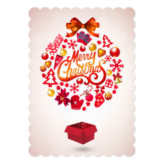 Merry Christmas Package 5x7 Paper Invitation Card