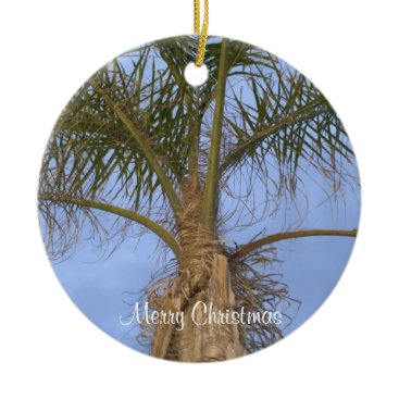 Beach Themed Merry Christmas Palm Tree Ornament CUSTOMIZE Date