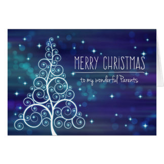 Merry Christmas Parents, Swirled Tree Bokeh Effect Card