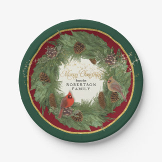 Merry Christmas Party Cardinals Pine Cone Wreath Paper Plate