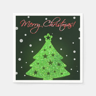 Merry Christmas party glowing sparkly tree Standard Cocktail Napkin