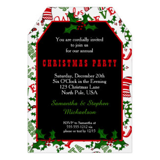 Merry Christmas Party Text Collage | Holly Card