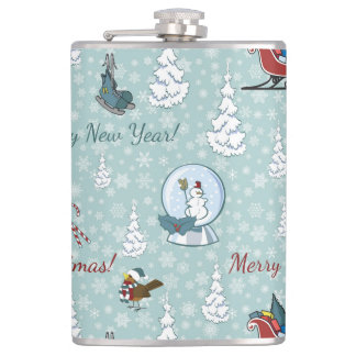 Merry christmas pattern flask
