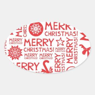 Merry Christmas pattern Oval Sticker