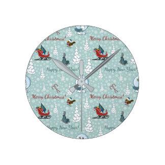 Merry christmas pattern round clock