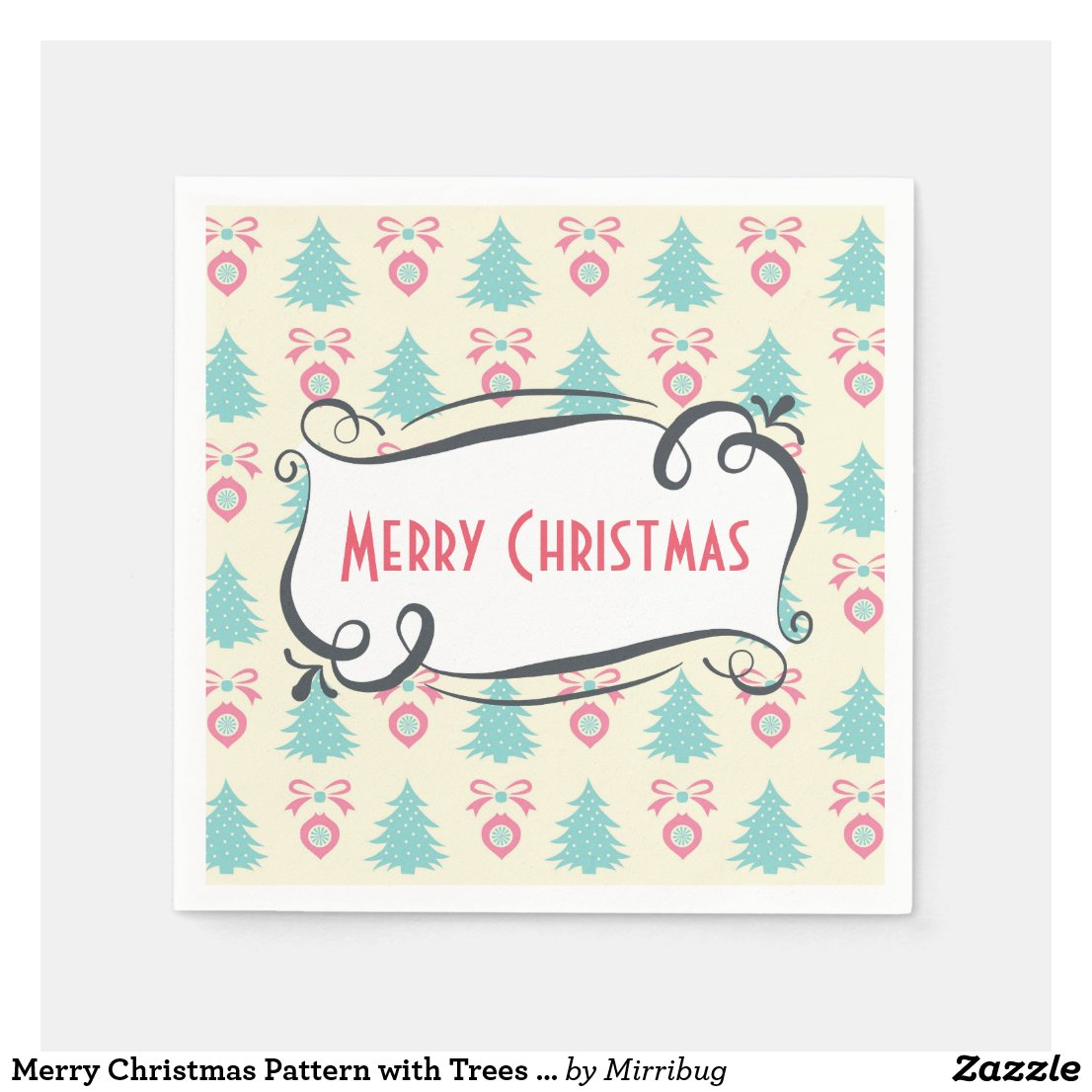 Merry Christmas Pattern with Trees Baubles & Bows Paper Napkin