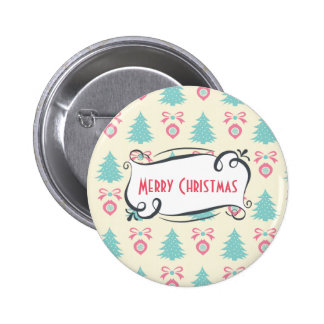 Merry Christmas Pattern with Trees Baubles & Bows Pinback Button