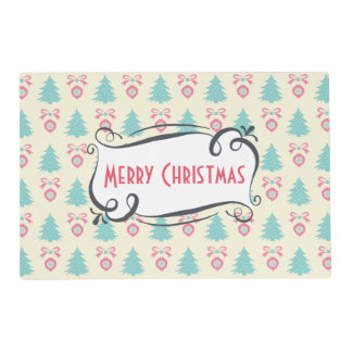 Merry Christmas Pattern with Trees Baubles & Bows Placemat