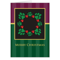 Merry Christmas Paw Print Wreath Greeting Card