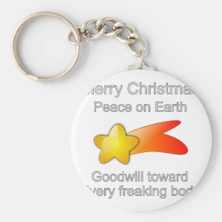 Merry Christmas Peace on Earth Goodwill to All Keychain