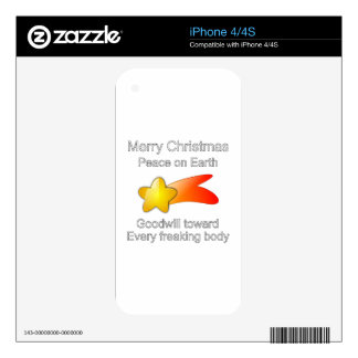 Merry Christmas Peace on Earth Goodwill to All Skins For iPhone 4