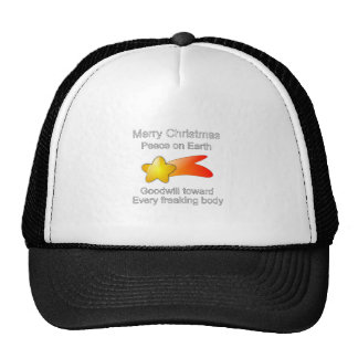Merry Christmas Peace on Earth Goodwill to All Trucker Hat