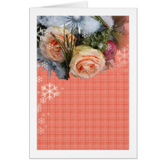 Merry Christmas Peach Roses Plaid Card