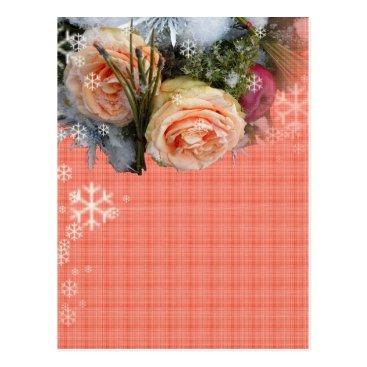 Christmas Themed Merry Christmas Peach Roses Plaid Postcard