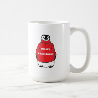 Merry Christmas Peguin in red sweater Classic White Coffee Mug
