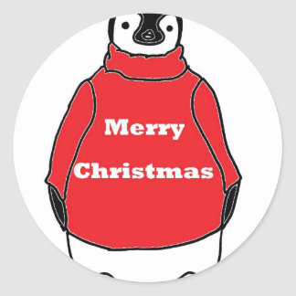 Merry Christmas Peguin in red sweater Sticker