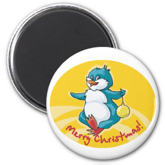 Merry Christmas Penguin 2 Inch Round Magnet