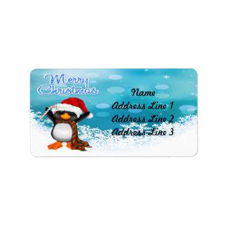 Merry Christmas Penguin Address Labels