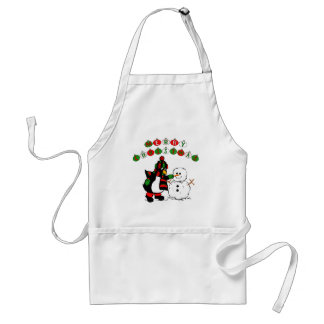 Merry Christmas Penguin and Snowman Adult Apron