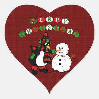 Merry Christmas Penguin and Snowman Heart Sticker