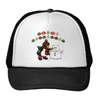 Merry Christmas Penguin and Snowman Trucker Hat