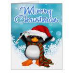 Merry Christmas Penguin Big Greeting Card