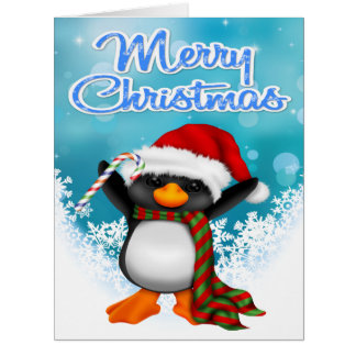 Merry Christmas Penguin Big Greeting Card