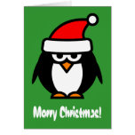 Merry Christmas penguin cartoon greeting card
