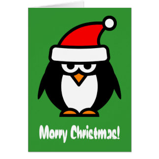 Merry Christmas penguin cartoon greeting card