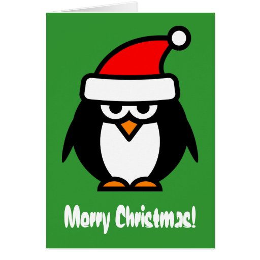 Merry christmas penguin cartoon greeting card zazzle for Penguin christmas cards homemade