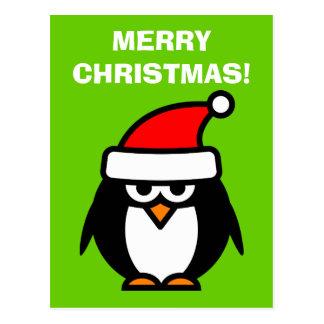 Merry Christmas penguin cartoon postcards