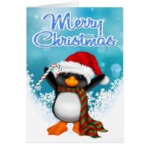 Merry christmas penguin greeting card zazzle for Penguin christmas cards homemade