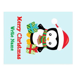 Merry Christmas Penguin illustration Postcard